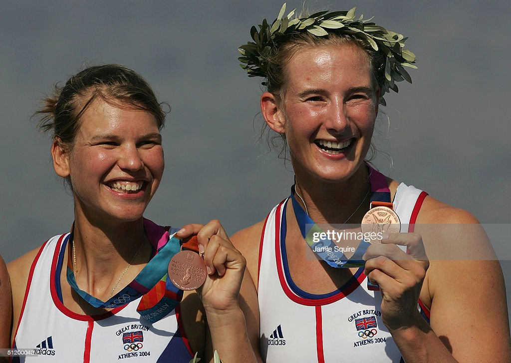 Sarah Winckless (L) and Elise Laverick of Great Britain stand on the podium after claiming the Bronze Medal in the women's double sculls final on August 21, 2004 during the Athens 2004 Summer Olympic Games at the Schinias Olympic Rowing and Canoeing Centre in Athens, Greece.
