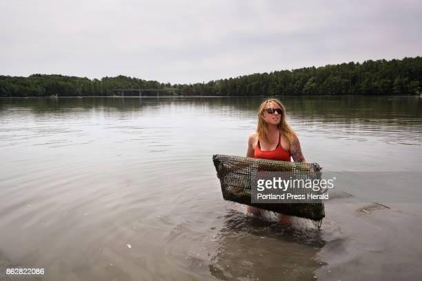 Sarah Wineburg lifts a bag of oysters that she is raising in the Damariscotta River in Damariscotta on Thursday June 29 2017