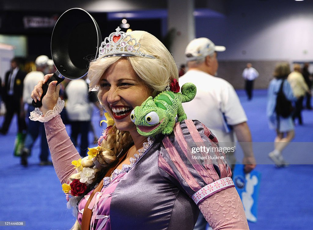 Sarah Wolowski, a fan dressed as Rapunzel from Disney's 'Tangled' attends Day One of Disney's D23 Expo 2011 at the Anaheim Convention Center on August 19, 2011 in Anaheim, California.