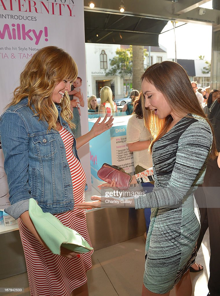 Sarah Wright (L) and Courtney Ford attend the Milky! launch event at A Pea In The Pod on May 2, 2013 in Beverly Hills, California.