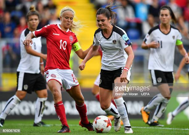 Sarah Zadrazil of Austria and Pernille Harder of Denmark during the UEFA Women's EURO 2017 Semifinal match between Austria and Denmark at Rat Verlegh...