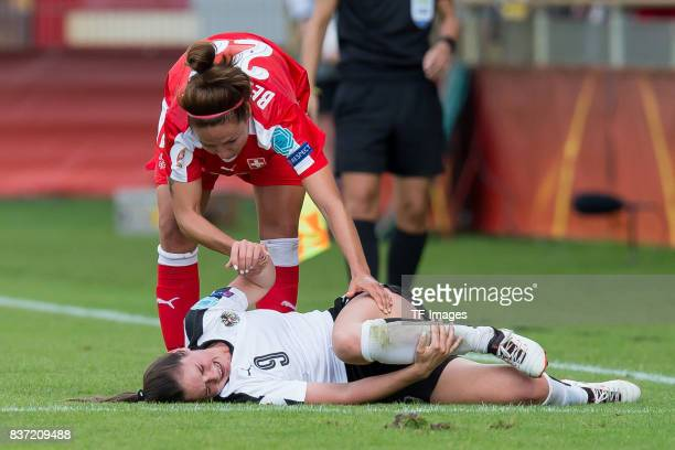 Sarah Zadrazil of Austria injured during the Group C match between Austria and Switzerland during the UEFA Women's Euro 2017 at Stadion De...