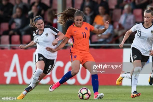Sarah Zadrazil of Austria Lieke Martens of The Netherlands Virginia Kirchberger of Austriaduring the friendly match between the women of The...