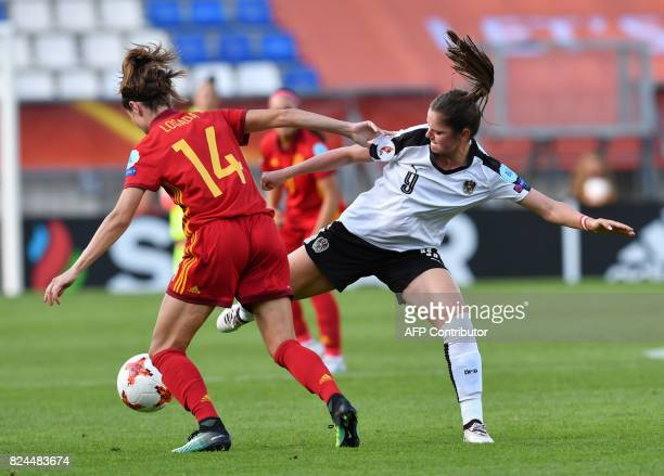 Sarah Zadrazil of Austria vies for the ball with Vicky Losada of Spain during the UEFA Womens Euro 2017 quarterfinals football match between Austria...