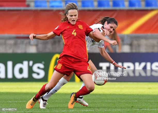 Sarah Zadrazil of Austria vies with Irene Paredes of Spain during the UEFA Women's Euro 2017 quarterfinal football match between Austria and Spain at...
