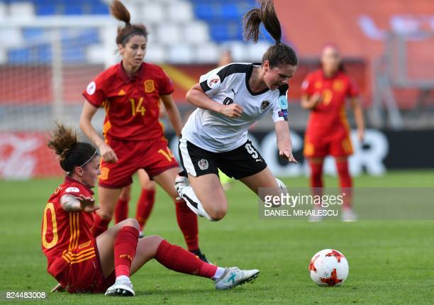 Sarah Zadrazil of Austria vies with Maria Leon of Spain during the UEFA Women's Euro 2017 quarterfinal football match between Austria and Spain at...