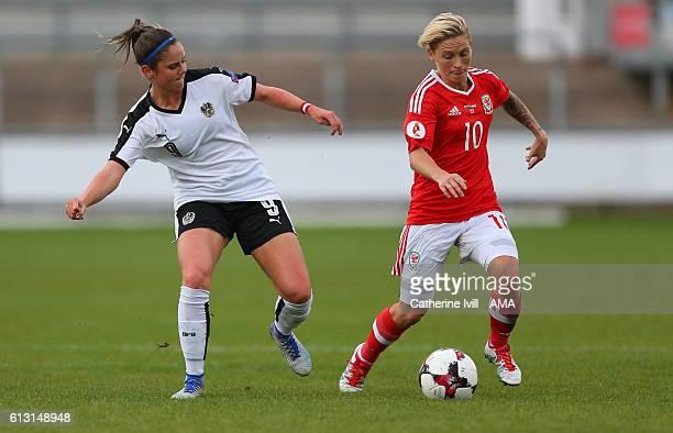 Sarah Zadrazil of Austria Women and Jess Fishlock of Wales Women during the Women's Euro 2017 qualifier match between Wales Women and Austria Women...