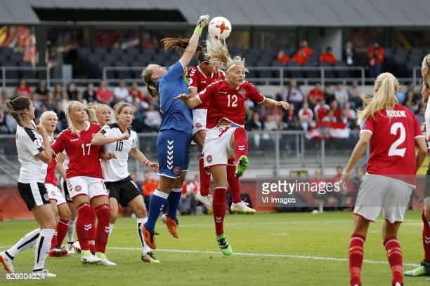 Sarah Zadrazil of Austria women Line Jensen of Denmark Nina Burger of Austria women goalkeeper Stina Lykke Petersen of Denmark Simone Boye Sorensen...