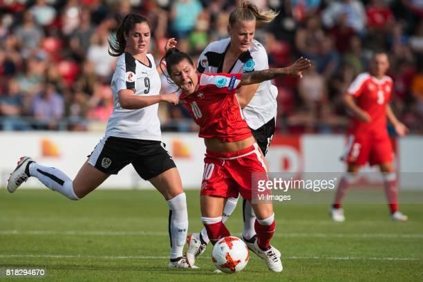 Sarah Zadrazil of Austria women Ramona Bachmann of Switzerland women Virginia Kirchberger of Austria women during the UEFA WEURO 2017 Group C group...