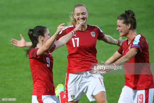 Sarah Zadrazil of Austria women Sarah Puntigam of Austria women Verena Aschauer of Austria women during the UEFA WEURO 2017 Group C group stage match...