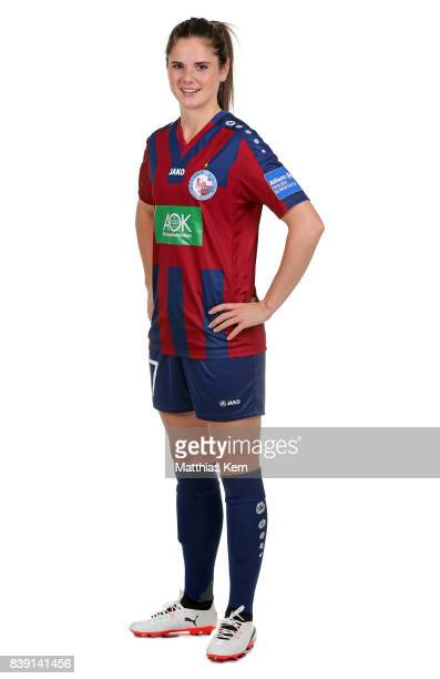 Sarah Zadrazil of Turbine Potsdam poses during the Allianz Frauen Bundesliga Club Tour at stadium Luftschiffhafen on August 24 2017 in Potsdam Germany
