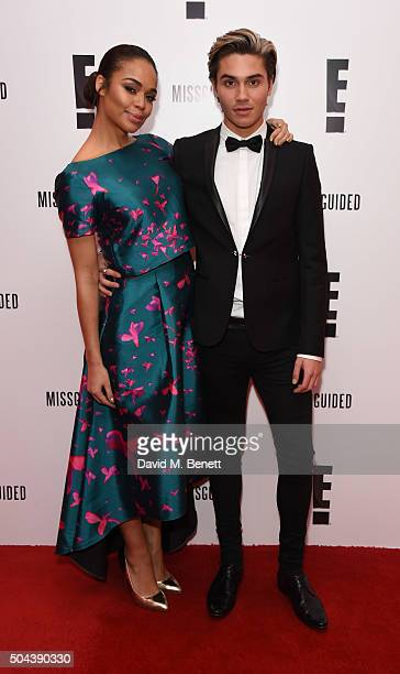 SarahJane Crawford and George Shelley attend E's Live From The Red Carpet Golden Globes Watch Along Party held at St Martin's Lane Hotel on January...