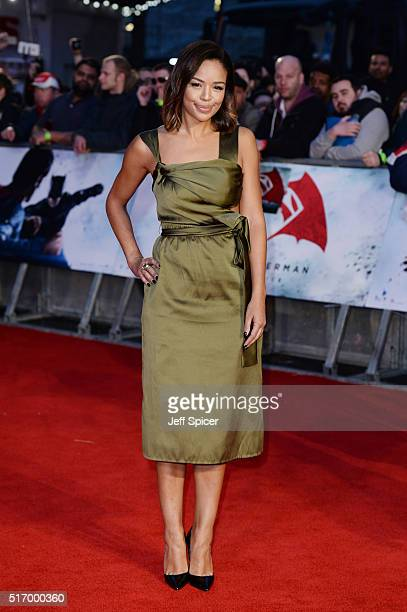 SarahJane Crawford arrives for the European Premiere of 'Batman V Superman Dawn Of Justice' at Odeon Leicester Square on March 22 2016 in London...