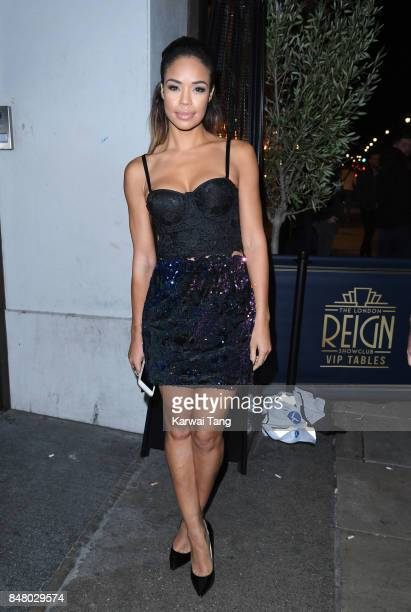 SarahJane Crawford arrives for the Jourdan Dunn Misguided collection launch at The London Reign on September 16 2017 in London England