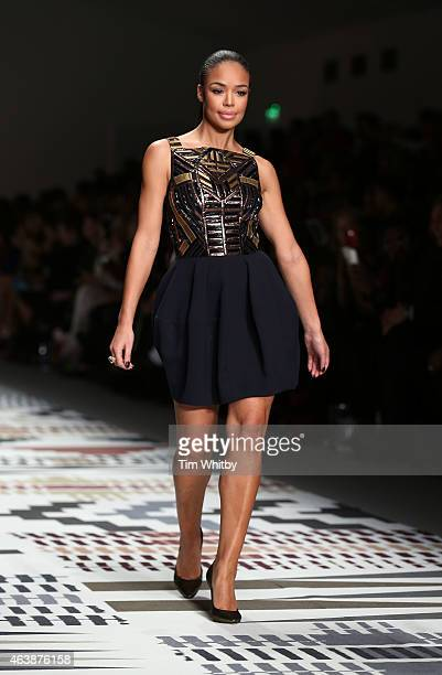 SarahJane Crawford walks the runway at the Fashion For Relief charity fashion show to kick off London Fashion Week Fall/Winter 2015/16 at Somerset...