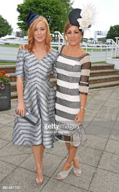 SarahJane Mee and Natalie Pinkham attend Ladies Day of the 2017 Investec Derby Festival at The Jockey Club's Epsom Downs Racecourse at Epsom...