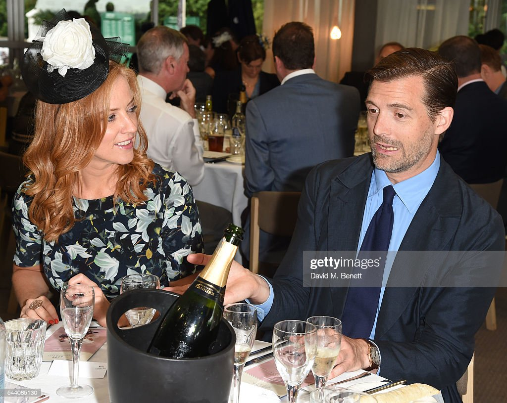 Sarah-Jane Mee and Patrick Grant attend the Sandown Park Racecourse Ladies' Day STYLE AWARD Hosted by Rosie Fortescue at Sandown Park on July 1, 2016 in Esher, England.