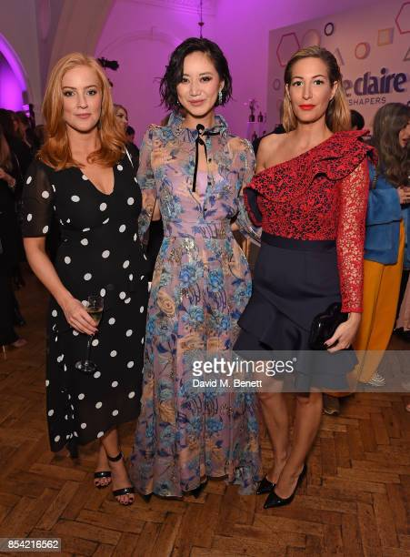 SarahJane Mee Betty Bachz and Laura Pradelska attend the Marie Claire Future Shapers Awards drinks reception at One Marylebone on September 26 2017...