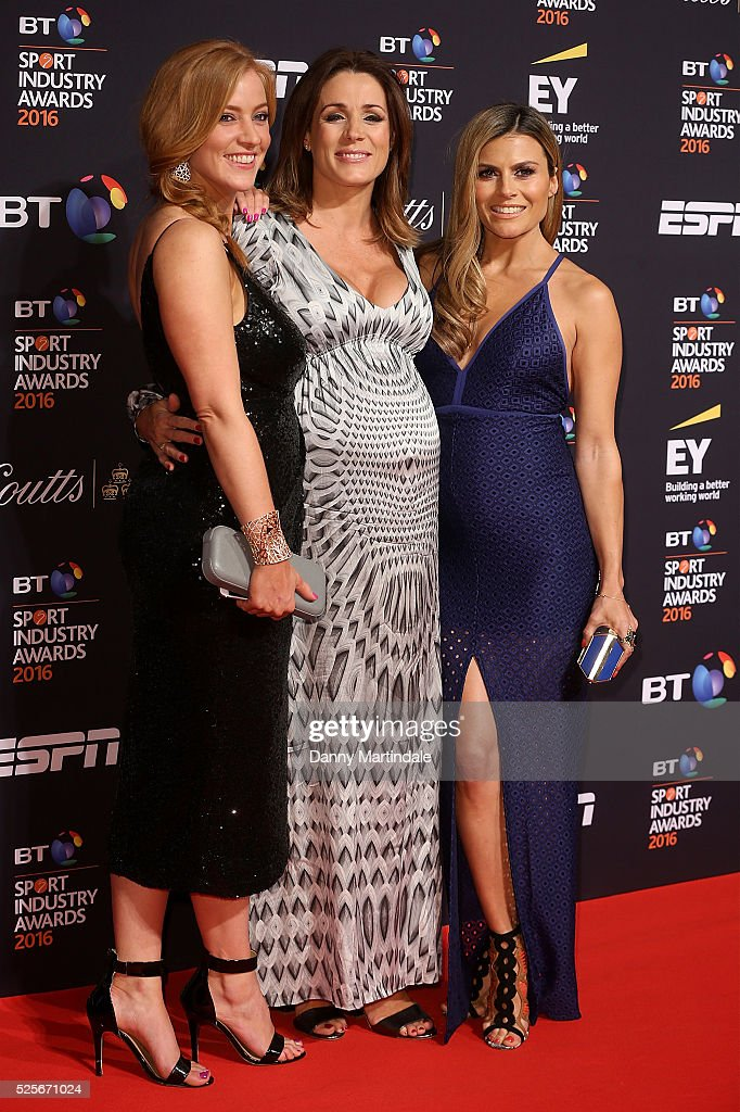 Sarah-Jane Mee, Natalie Pinkham and Zoe Hardman arrives for the BT Sport Industry Awards at Battersea Evolution on April 28, 2016 in London, England.