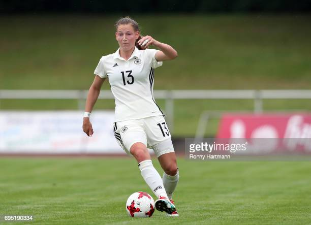 Sarai Linder of Germany runs with the ball during the U19 women's elite round match between Germany and Switzerland at Friedensstadion on June 9 2017...