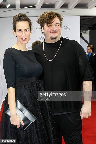 Saralisa Volm and Daniel Zillmann attend the Lena Hoschek Arrivals MercedesBenz Fashion Week Berlin Autumn/Winter 2016 on January 19 2016 in Berlin...