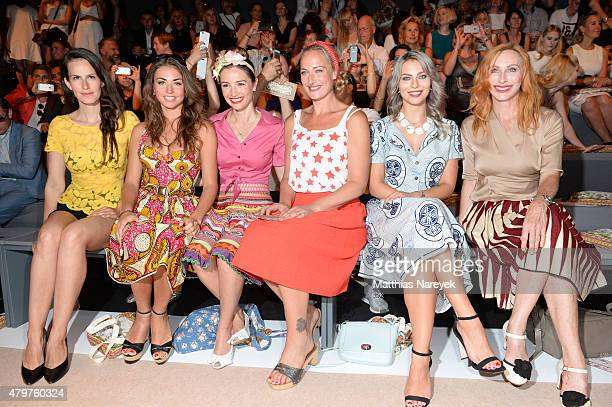 Saralisa Volm Ekaterina Leonova Wanda Badwal Eva Mona Rodekirchen Masha Sedgwick and Andrea Sawatzki attend the Lena Hoschek show during the...