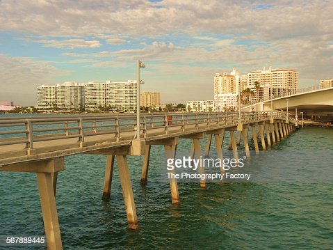Ringling causeway bridge stock photos and pictures getty for Sarasota fishing pier