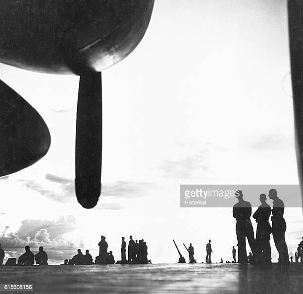 USS Saratoga flight deck at dawn as the ship prepares for an air strike against Rabaul November 1943 | Location USS Saratoga