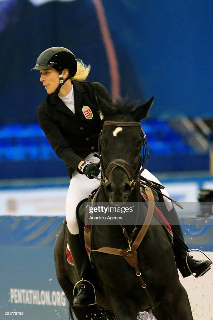 Saratolya Kovacs of Hungry competes during the riding discipline of the women's final at the modern pentathlon world championships in Moscow, Russia, on May 27, 2016.
