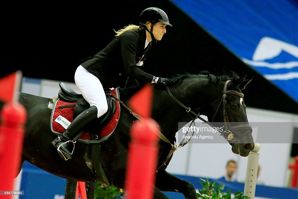 Saratolya Kovacs of Hungry with horse are seen during the riding discipline of the women's final at the modern pentathlon world championships in Moscow, Russia, on May 27, 2016.