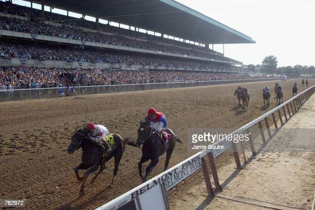 Sarava with jockey Edgar Prado up wins the 134th Belmont Stakes at Belmont Race Park in Elmont New York on June 8 2002