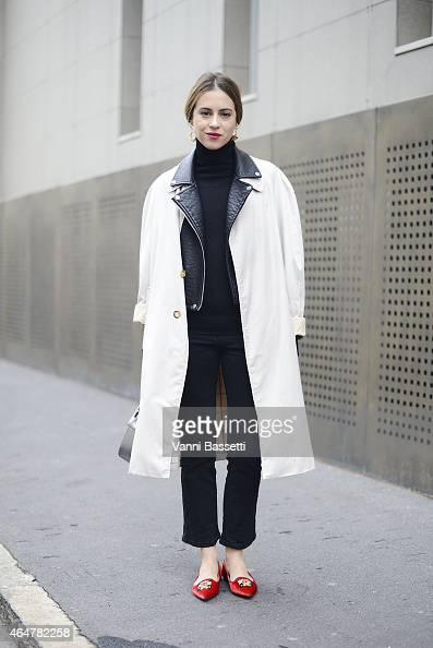 Saray Martin poses wearing a Burberry trench Zara jacket and Loewe bag on February 28 2015 in Milan Italy