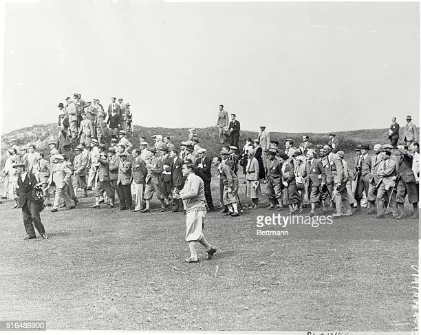 Sarazen on Final Round in British Open Gene Sarazen outstanding American professional here is shown playing an approach shot to the tenth green...