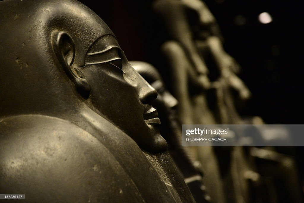 Sarcophagus are pictured in the Statuary room of the Egyptian Museum in Turin on November 7, 2013. The 'Museo delle Antichità Egizie' in Turin is the only museum other than the Cairo Museum that is dedicated solely to ancient Egypt art and culture.