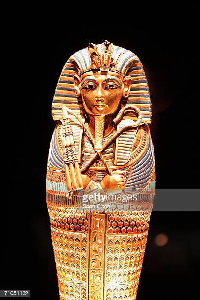 A sarcophagus which contained the mummified liver of Egypt's King Tutankhamun is displayed at the Field Museum on May 25 2006 in Chicago Illinois The...