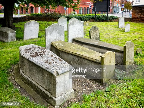 Sarcophagus-shaped graves in Ipswich, Suffolk : Stock Photo