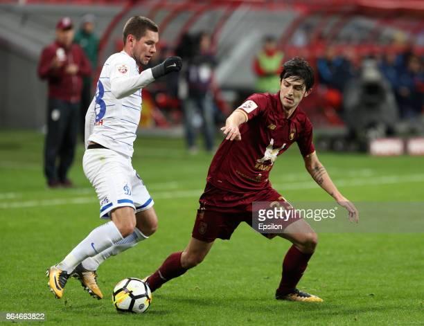 Sardar Azmoun FC Rubin Kazan vies for the ball with Aleksandr Tashayev FC Dinamo Moscow during the Russian Premier League match between FC Rubin...