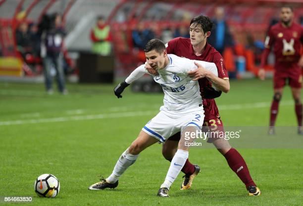 Sardar Azmoun FC Rubin Kazan vies for the ball with Grigori Morozov FC Dinamo Moscow during the Russian Premier League match between FC Rubin Kazan...