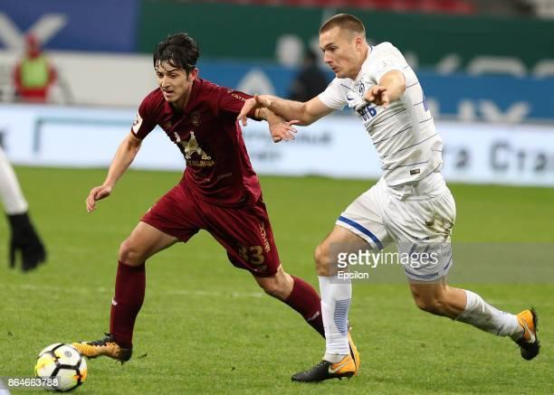 Sardar Azmoun FC Rubin Kazan vies for the ball with Toni Sunjic FC Dinamo Moscow during the Russian Premier League match between FC Rubin Kazan and...