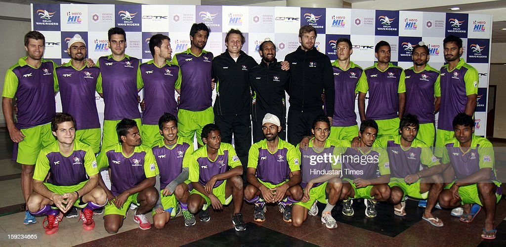 Sardar Singh Captain Delhi Waveriders with other team members pose for group photo shoot during a Press conference unveil their might for the Hockey India League, at National Stadium on January 10, 2013 in New Delhi, India. Hockey India League is professional league for field hockey competition that will be played from 14 January to 10 February. There are 5 franchise teams consisting of players from India and around the world. The matches will be played on Home and away basis culminating into multi header playoffs.