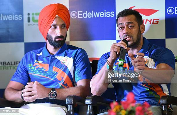 Sardar Singh Captain Indian Women Hockey Team with Bollywood actor Salman Khan during a press conference to announce Salman as Indian contingents...