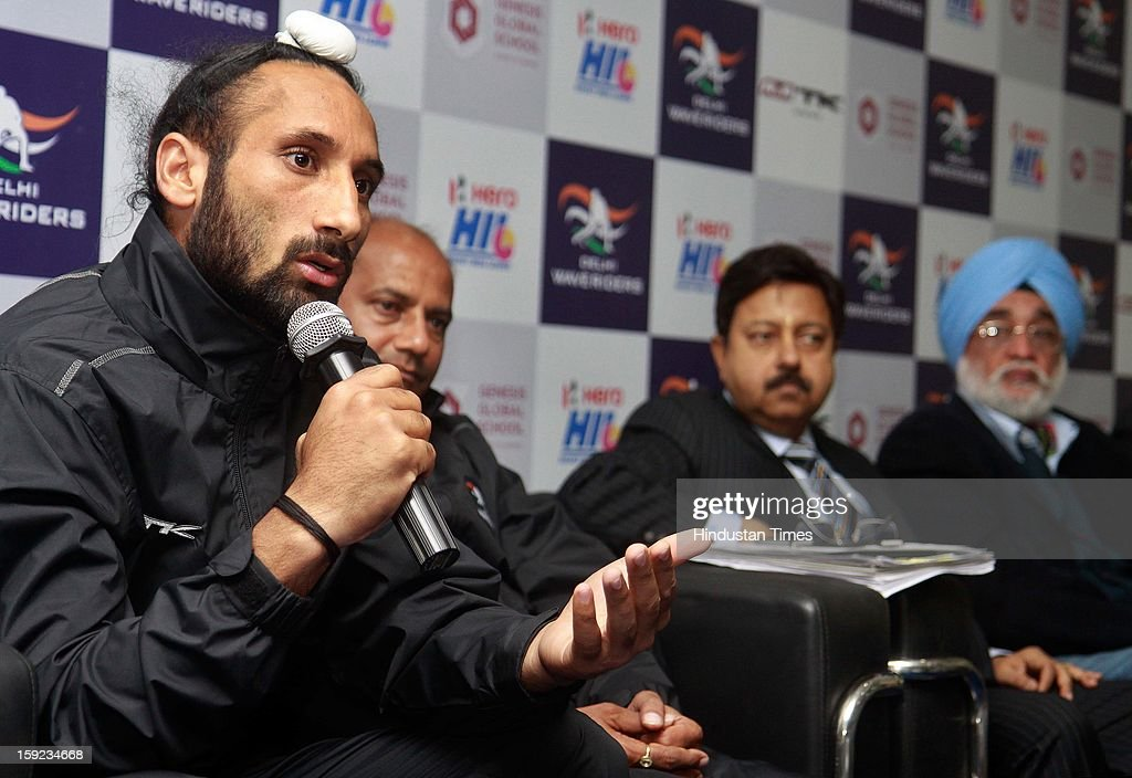 Sardar Singh Captain of Delhi Waveriders addresses media during a Press conference to unveil their might for the Hockey India League at National Stadium on January 10, 2013 in New Delhi, India. Hockey India League is professional league for field hockey competition that will be played from 14 January to 10 February. There are 5 franchise teams consisting of players from India and around the world. The matches will be played on Home and away basis culminating into multi header playoffs.