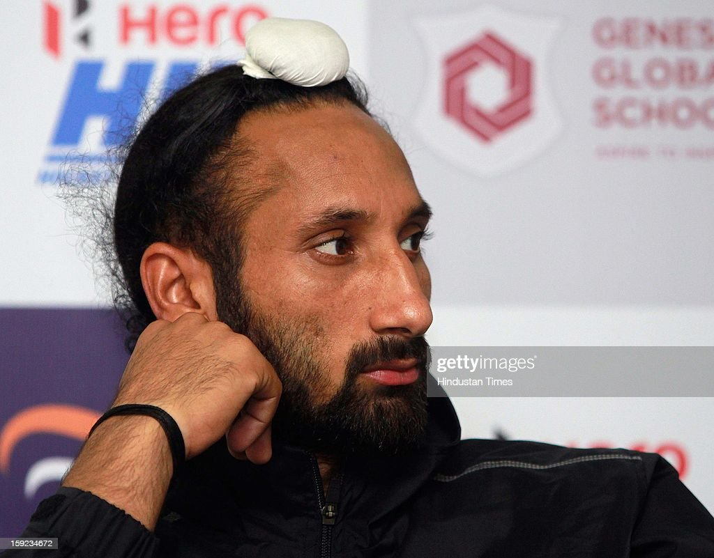 Sardar Singh Captain of Delhi Waveriders during a Press conference to unveil their might for the Hockey India League at National Stadium on January 10, 2013 in New Delhi, India. Hockey India League is professional league for field hockey competition that will be played from 14 January to 10 February. There are 5 franchise teams consisting of players from India and around the world. The matches will be played on Home and away basis culminating into multi header playoffs.