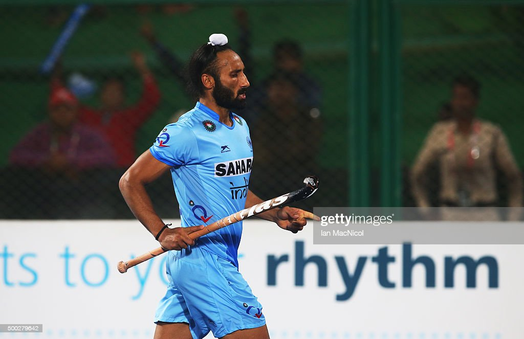 Sardar Singh captain of India celebrates scoring during the penalty shoot out during the match between Netherlands and India on day ten of The Hero Hockey League World Final at the Sardar Vallabh Bhai Patel International Hockey Stadium on December 06, 2015 in Raipur, India.