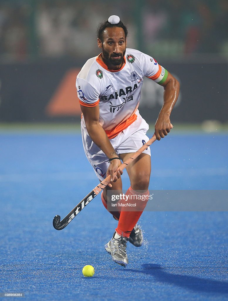Sardar Singh captain of India controls the ball during the match between Argentina and India on day one of The Hero Hockey League World Final at the Sardar Vallabh Bhai Patel International Hockey Stadium on November 27, 2015 in Raipur, India.