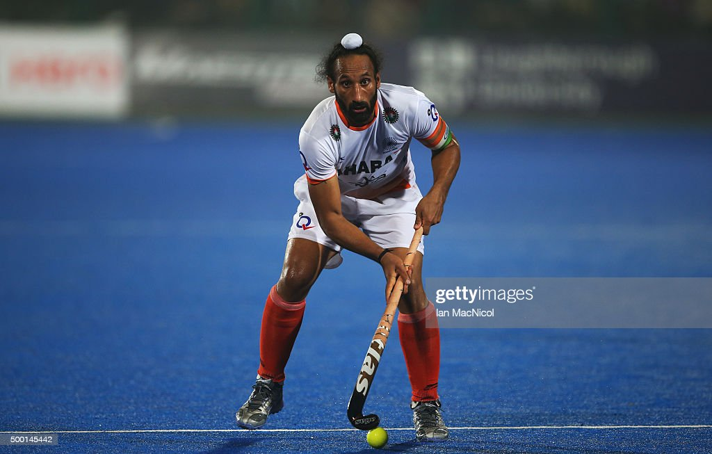 Sardar Singh captain of India controls the ball during the match between India and Belgium on day nine of The Hero Hockey League World Final at the Sardar Vallabh Bhai Patel International Hockey Stadium on December 05, 2015 in Raipur, India.