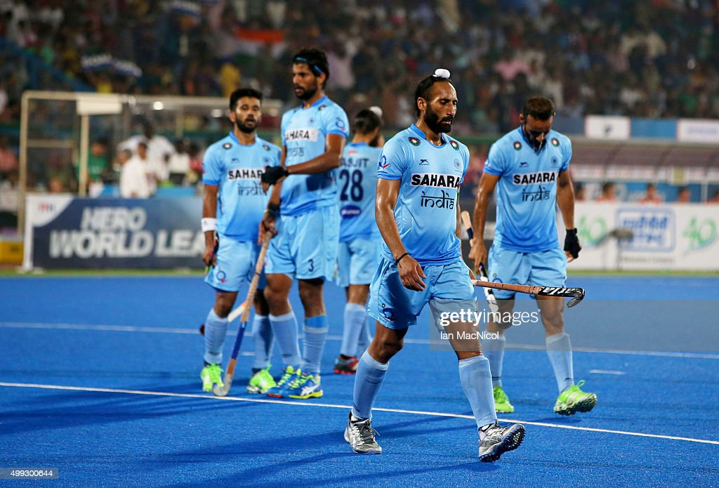 Sardar Singh captain of India looks dejected during the match between Netherlands and India on day four of The Hero Hockey League World Final at the Sardar Vallabh Bhai Patel International Hockey Stadium on November 30, 2015 in Raipur, India.