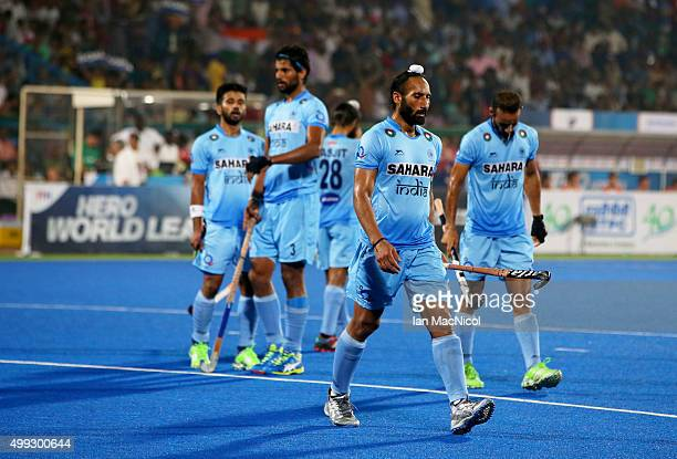 Sardar Singh captain of India looks dejected during the match between Netherlands and India on day four of The Hero Hockey League World Final at the...