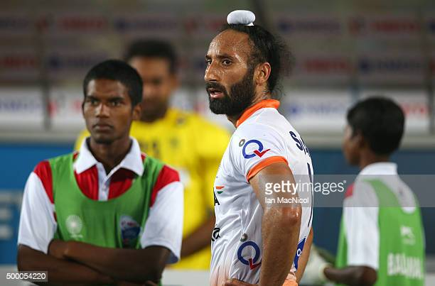 Sardar Singh captain of India looks on during the match between India and Belgium on day nine of The Hero Hockey League World Final at the Sardar...