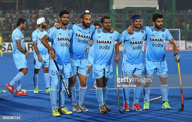 Sardar Singh captain of India looks on during the penalty shoot out during the match between Netherlands and India on day ten of The Hero Hockey...